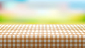 Picnic Table Covered With Tablecloth On Blurred Background Royalty Free Stock Photo