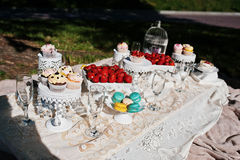 Picnic table with decor on grass with macaroon, strawberry and c Stock Photo