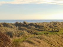 Picnic table on desereted coast. A wooden picnic table on dunes with background of sea and sky Stock Photos