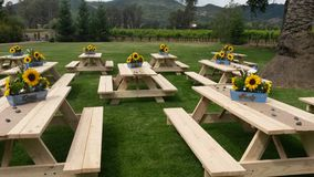 Picnic table display Royalty Free Stock Photos