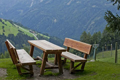 Picnic table in the Dolomites Royalty Free Stock Images