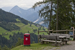 Picnic table in the Dolomites Royalty Free Stock Image