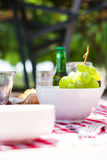 Picnic table with food and drinks. Outdoorn Royalty Free Stock Images