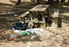 Picnic table with garbage Stock Photo