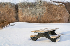 Picnic table and granite rock  in Vedauwoo Recreation Area Royalty Free Stock Photo
