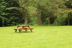 Picnic table green field Royalty Free Stock Image