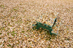 Picnic table hidden under golden autumn leaves. In an empty park Royalty Free Stock Photo