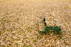 Picnic table hidden under golden autumn leaves Stock Images