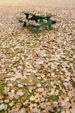 Picnic table hidden under golden autumn leaves Royalty Free Stock Photography