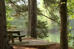 Picnic table by a lake Royalty Free Stock Photos