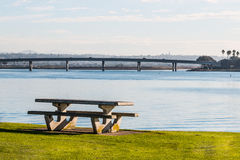 Picnic Table on Mission Bay in San Diego royalty free stock image