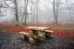 Picnic table in misty forest Stock Image