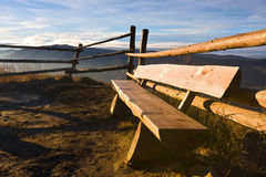 Picnic table at mountains Royalty Free Stock Photography