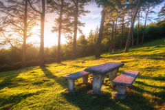 Picnic table on moutain Royalty Free Stock Images