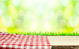 Picnic table in nature stock photo