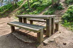 A picnic table at the nature Royalty Free Stock Images