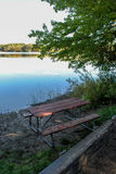 Picnic Table near the Lake Royalty Free Stock Photos