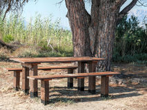Picnic table near Posada Stock Images