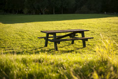 Picnic table. Normal boring picnic table for eating or heaving fun Royalty Free Stock Images