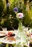 Picnic table outdoors Royalty Free Stock Photography