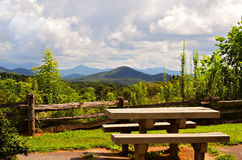 Picnic Table at Overlook Stock Photo