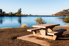 Picnic Table Overlooking Lake Murray in San Diego Stock Photo