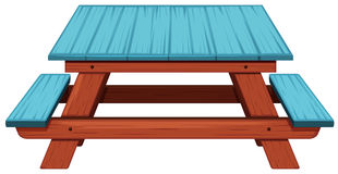 Picnic table painted blue. Illustration vector illustration