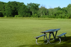 Picnic table, in the park. Picnic table on the foreground and trees and grass field on the background Royalty Free Stock Image