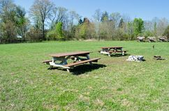 Picnic table in park. Picnic table in out door park Royalty Free Stock Image