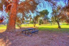 Picnic table. At the park under the tree Royalty Free Stock Photos