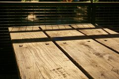 Picnic Table Planks with Shadow Pattern Royalty Free Stock Image