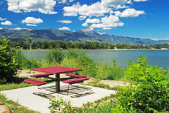 Picnic Table at Prospect Lake Stock Image