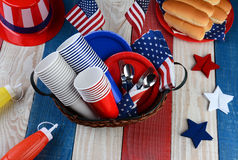 Picnic Table Ready For Fourth of July Party Royalty Free Stock Photo