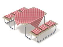 Picnic table with red table cover and pillows. 3D. Render illustration isolated on white background Royalty Free Stock Images
