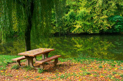 Picnic table by the river. Picnic table, grass and trees by the river stock images