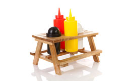 Picnic table with salt and pepper Royalty Free Stock Photos