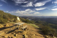 Picnic Table and Scenic San Diego County Landscape from Iron Mountain in Poway. Picnic Table and Scenic Landscape View of San Diego County North from summit of royalty free stock images