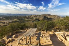Picnic Table and Scenic San Diego County Landscape from Iron Mountain in Poway. Picnic Table and Scenic Landscape View of San Diego County North from summit of stock images