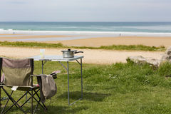 Picnic table sea view. Picnic table lunch on grass sea view nobody France Normandy Stock Images