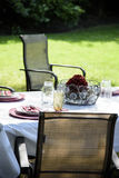 Picnic Table Setting in Backyard in Summer Royalty Free Stock Photography
