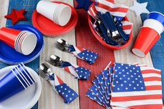 Picnic Table Setting Fourth of July Royalty Free Stock Photography