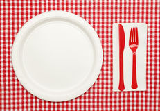 Picnic Table Setting Stock Photo