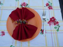 Picnic table setting. Plate with napkin and fork on floral tablecloth ready for picnic stock photo