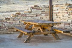 Picnic table and shelter Royalty Free Stock Images