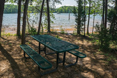 Picnic Table by Smith Mountain Lake Stock Image