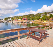 Picnic table, Southern Norway landscape Royalty Free Stock Images