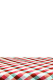 Picnic table with tablecloth. Stock Image