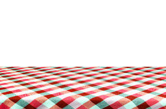 Picnic table with tablecloth. Stock Photo