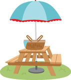 Picnic Table Umbrella Royalty Free Stock Photography