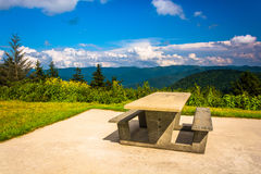 Picnic table and view of the Appalachian Mountains from the Blue Royalty Free Stock Photography